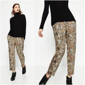 NWT Zara Size S Printed Crepe Trousers